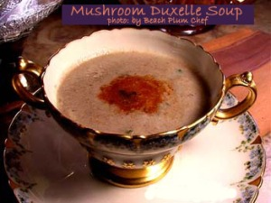 A creamy mushroom soup made with reduced mushroom puree and vegetable stock, with a light cream and fresh thyme finish