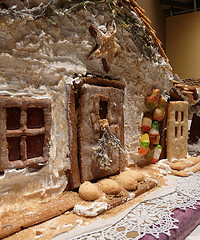 Front View Ginger Bread House by Beach Plum Chef Dec 2010 at Heritage Museum and Gardens in Sandwich MA